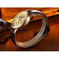 Мъжки Часовник с Кожена Каишка Тип Скелетон